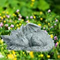Exttlliy Dragon Garden Statues Whimsical Gargoyle Decorations for Outside Resin Adorable Baby Sleeping Dinosaur Animals Outdoor Statues Sculptures Spring Decor for Home