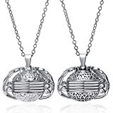 Expanding Photo Locket Necklace Heart Ball Locket with Angel Wings Photo Frame Necklace for Women Girls Kids (Round-Antique Silver&Platinum)