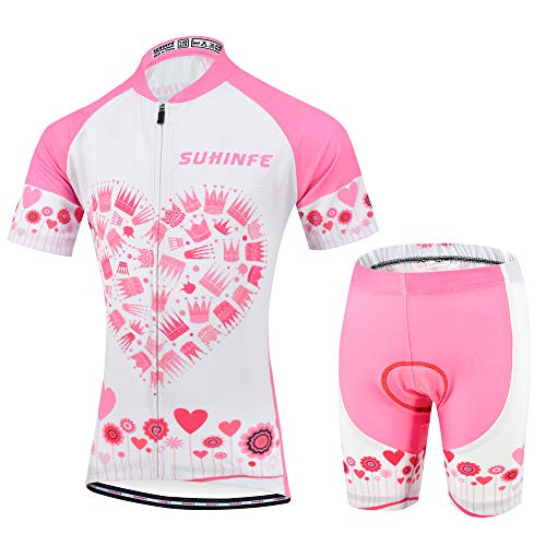 Girls Cycling Clothing, Breathable Cycling Jersey and Padded Shorts for Kids, Pink