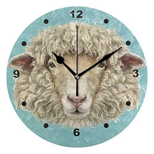 Relojes de pared de oveja para sala de estar reloj de baño sin garrapatas silencioso decorativo redondo