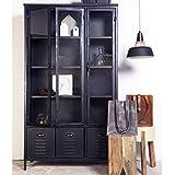 Maison Esto Industrial Design - Armario vitrina con cajones (metal), color negro
