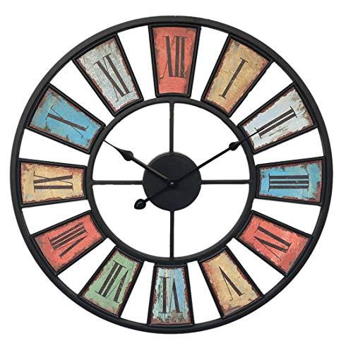 MAJOZ Grandes Salón Reloj de Pared XL Metal ø50cm Fortuna Vintage Shabby Chic Reloj para la Pared (Diámetro Metal), Hierro, Römische Ziffern, 50 * 50cm