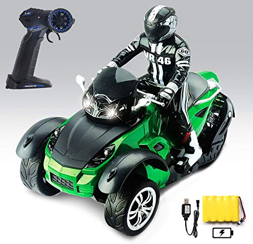 Haktoys Three Wheel ATV RC Remote Control Roadster Motorcycle 2.4GHz, 1:10 Scale Vehicle UTV with LED Headlights for Kids, Boys and Adults