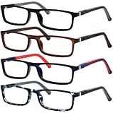 Yogo Vision Reading Glasses for Men 4 Pack Comfortable Spring Hinges Mens Reading Eyeglasses Set - Lightweight Readers +3