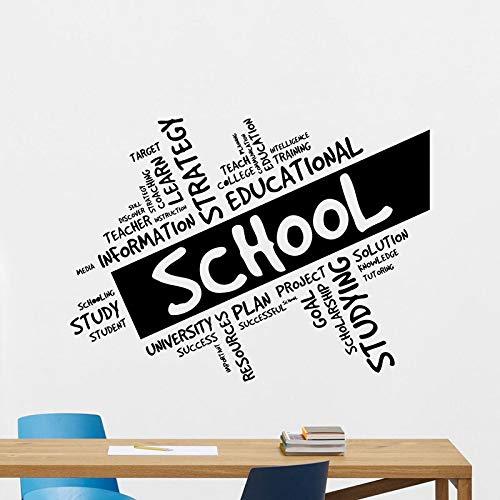 Calcomanías de pared para la escuela, puertas y ventanas educativas, pegatinas de vinilo, carteles de arte, decoración de interiores, papel tapiz de texto