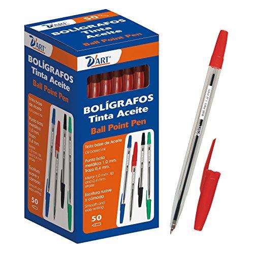 D'Art 79462 - Caja de bolígrafos, 1 mm, 50 unidades, color rojo