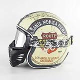 MMRLY Cara Abierta de la Vendimia Casco de la Moto con los anteojos de la Motocicleta de la Boca del Filtro máscara Desmontable Retro Harley Chopper Casco (M, L, XL, XXL),Plata,XL