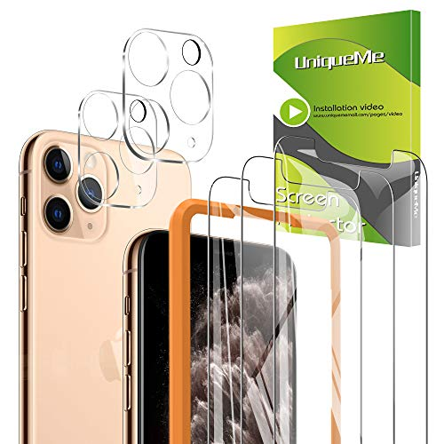 [5-Pack] UniqueMe 3 Pack Screen Protector for iPhone 11 Pro Tempered Glass +2 Pack Camera Lens Protector High Definition 【Alignment Frame Easy 】【NewVersion】 AddCamerasFlashCircle【 5.8 inch】