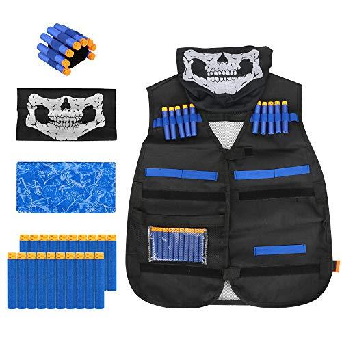 welltop Kinder Taktisch Vest Battle Weste Kit für Nerf Guns N-Strike Elite Serie Attle Weste mit Handschlaufe,2 Gesichtsmasken, 20 Pfeiles