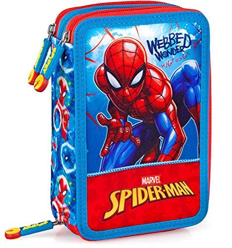 Spiderman - Astuccio Scuola 3 Zip Originale Completo di 44 Pezzi (Rosso/Azzurro)