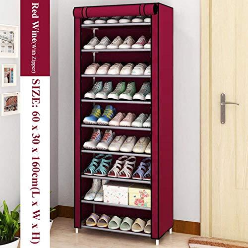 Gabinete de zapatos simple a prueba de polvo no tejido hogar dormitorio montado organizador de almacenamiento de zapatos Enteryway cierre cremallera zapatero estante de zapatos vino rojo 9L