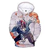 cshsb Hoodie con Bolsillos Drawstring Unisex Sudadera con Capucha My Hero Academia Hombre Mujer Impresión 3D Anime Camiseta Cosplay Sudadera Casual Uniforme de Béisbol-Negro,G,M-L