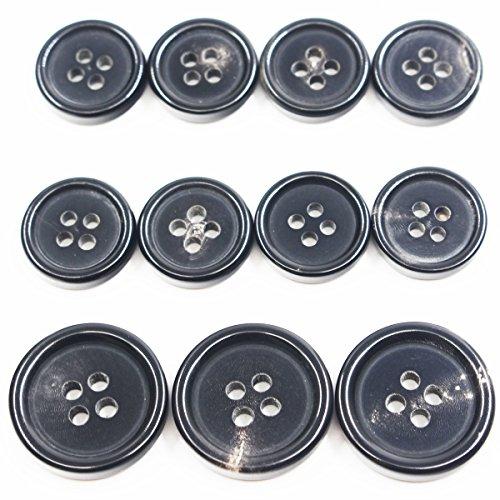 11 Pieces Genuine Natural Horn Blazer & Suits Button Set - for Blazer, Sport Coat, Uniform, Jacket (Black)