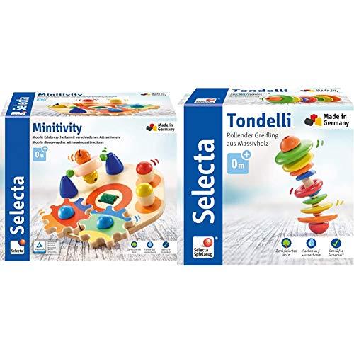 Selecta 62036 Minitivity, Motorikspielzeug aus Holz, 14 cm & 61042 Tondelli, Rollender Greifling, 12 cm