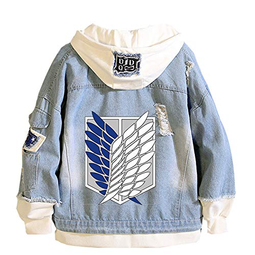 Anime Attack on Titan Denim Outerwear Cosplay Hoodie Jacket Button Down Jeans Coat Costume