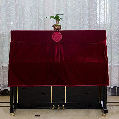 ZYYH Cubierta de Piano Vertical Hecha a Mano de Terciopelo de Oro Rosa Piano Media Cubierta de Terciopelo Cortina Dividida a Prueba de Polvo