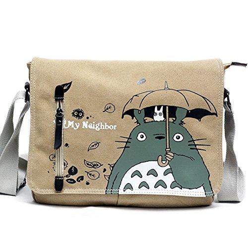 Beautyonline Totoro Messenger Bag Rucksack Cartoon Schultertasche Canvas Schultertasche Sling Bag Cosplay Tasche für Mädchen Jungen H01