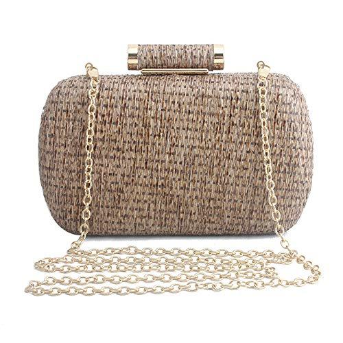 JFJWH Abendtasche Damen Clutch Bag, Mode handgewebte Strohhalmtasche @ Khaki Abend Party Geldbeutel Abschlussball Handtaschen Hochzeit Braut Zubehör