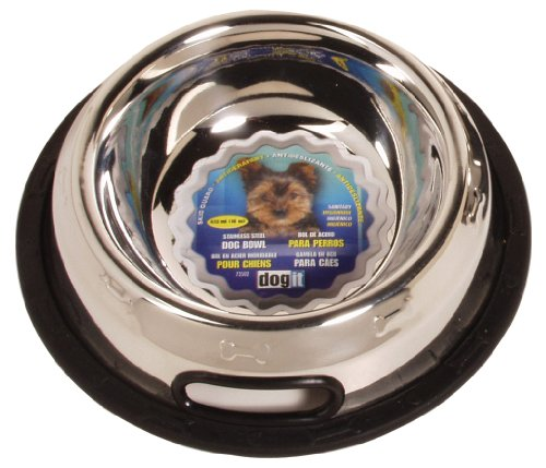 Dogit Hagen Stainless Steel Non-Spill Dog Bowl with Rubber Ring to Prevent Sliding, 16 Ounce