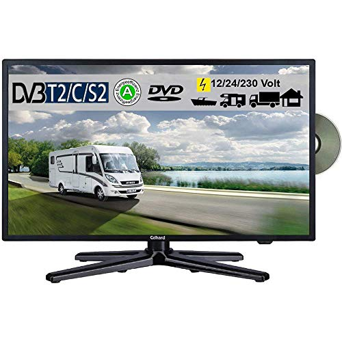 Gelhard GTV-2082PVR LED 20 Zoll Wide Screen TV DVD DVB/S/S2/T2/C 230/12 Volt 24 Volt für Wohnmobil Camping KFZ LKW Truck und Zuhause mit PVR-Funktion