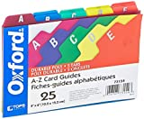 Oxford Poly Index Card Guides, Alphabetical, A-Z, Assorted Colors, 4' x 6' Size, 25 Guides per Set (73154)
