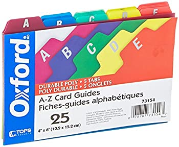 Oxford Poly Index Card Guides Alphabetical A-Z Assorted Colors 4  x 6  Size 25 Guides per Set  73154