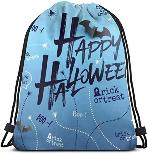 NA Gelukkig Halloween Achtergrond Met Halloween Geest Ballonnen Gepersonaliseerde Klassieke Draagbare Trekkoord Backpack,14.2