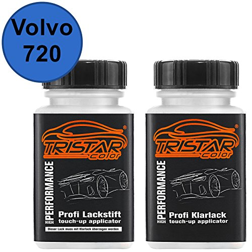 TRISTARcolor Autolack Lackstift Set für Volvo 720 Bursting Blue Metallic Basislack Klarlack je 50ml