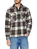 Schott NYC Shcarl1 Camisa, CHEQUES Beige, M para Hombre