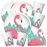 52-teiliges Party-Set Flamingo - Teller Becher Servietten für 16 Personen