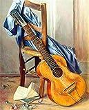 KLBPL Malen-Nach-Zahlen Hocker Gitarrenmusik Malen Nach Zahlen Kits Inklusive Acrylfarben,Pinsel Und Anleitung,Ohne Rahmen Set Für Den Kindergeburtstag 40,6X50,8 cm