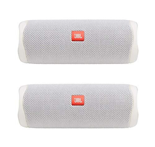 JBL Flip 5 Portable Waterproof Bluetooth Speaker Pair Bundle (White) (2 Items)