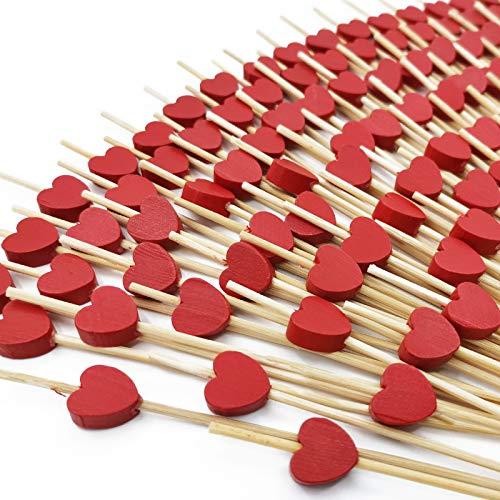 100 Stück Cocktailspieße, Rotes Herz Cocktailspieße Holz Spieße Fingerfood Partypicker 12 cm für Grillgut, für Party Geschenk Fasching Geburtstag Party, Cocktails BBQ Kindergeburtstage