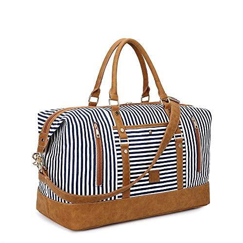 Plambag - Borsone in tela, impermeabile, in tela e pelle PU, a righe, borsa da viaggio multifunzionale per lo sport, da donna