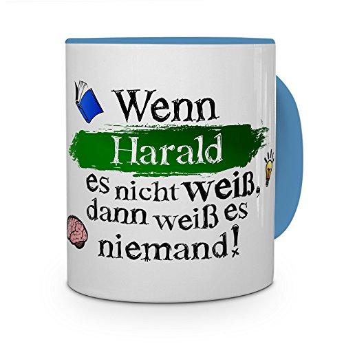 printplanet Tasse mit Namen Harald - Layout: Wenn Harald es Nicht weiß, dann weiß es niemand - Namenstasse, Kaffeebecher, Mug, Becher, Kaffee-Tasse - Farbe Hellblau
