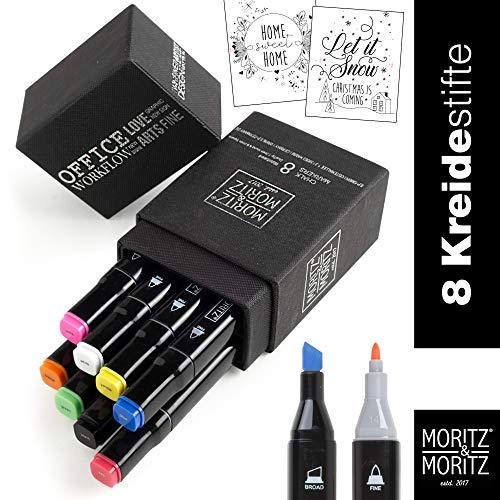 Moritz & Moritz Krijtstiften voor ramen - krijtverf met ronde punt en wigvormige punt - Chalk Markers Twin Marker in 8 kleuren afwisbaar - inclusief 2 schildersjablonen