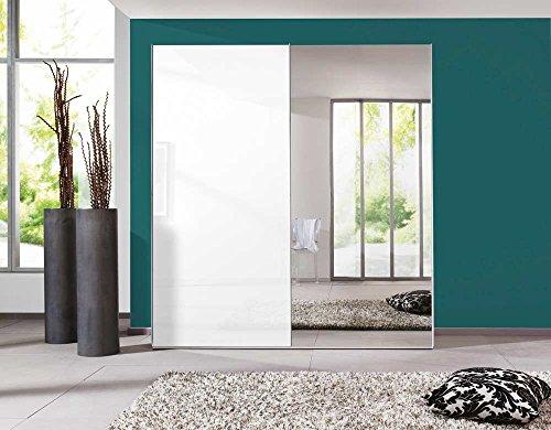 lifestyle4living 2-türiger Schwebetürenschrank in Polar-Weiß, 1 Tür in Lack weiß, 1 Spiegeltür, 2 Einlegeböden, 2 Kleiderstangen,Maße: B/H/T...