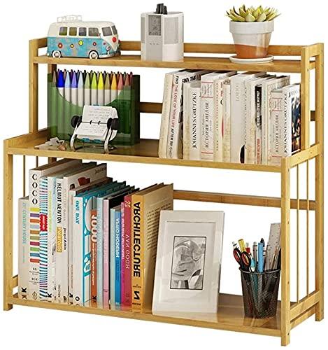 ZXYDD Estantería para estudiantes de tres capas de madera de bambú de la superficie del escritorio de la estantería de almacenamiento simple estante de almacenamiento pequeño estantería