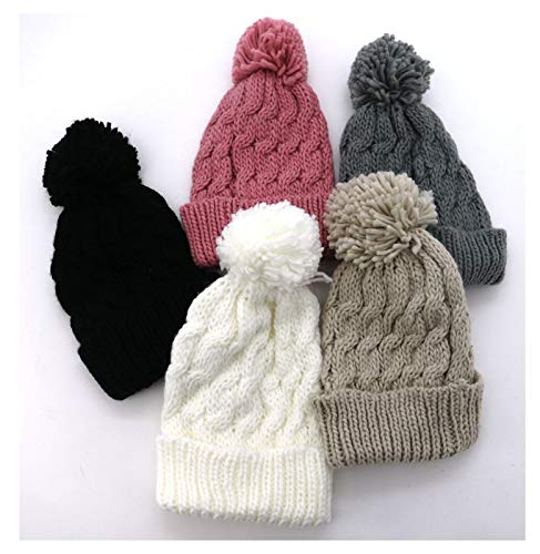 Fashion&Joy Strickmütze mit Zopfmuster & Bommel in schwarz warme Damen Winter Mütze Wollmütze Strick Beanie Bommelmütze Typ386