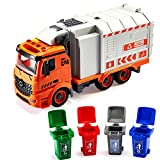 SameTech Friction Powered Garbage Recycling Truck Toy with Garbage Cans Vehicle for Kids