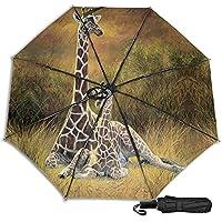 Giraffe Mum And Baby 防風二重層通気性トラベル傘、サン傘、防水コーティング生地、持ち運びや旅行が簡単。
