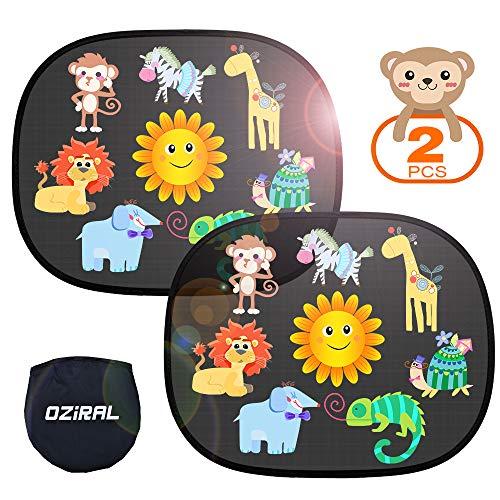 Oziral Parasol de Coche 2 Piezas Parasol Coche Infantil Ventana Autoadhesivo Lateral Parasol Coche con Protección UV Extra Oscura para Bebé (Patrón de Dibujos Animados)