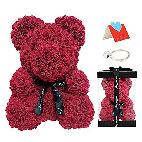 Delisouls Ours en Peluche Artificiel en Mousse de 25 cm - Ours Romantique en Forme de Rose pour la Saint-Valentin, Un Anniversaire, Un Mariage
