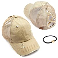 C.C Exclusives Hatsandscarf Washed Distressed Cotton Denim Ponytail Hat Adjustable Baseball Cap Bundle Hair Tie (BT-780) (A Elastic Band-Khaki)