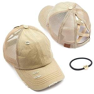 C.C Exclusives Hatsandscarf Washed Distressed Cotton Denim Ponytail Hat Adjustable Baseball Cap Bundle Hair Tie (BT-780) (A Elastic Band-Khaki)