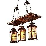 Vintage Kronleuchter Vintange Deckenlampe 3 Lichter,JOJOM Holz Kronleuchter Lampe Loft Licht Retro Licht E27 Glaslampenschirm Balkon Schlafzimmer D62 * H100CM(Ohne Glühbirne)