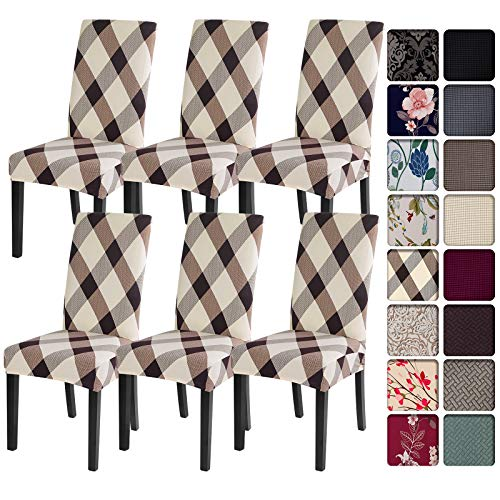SearchI Dining Room Chair Covers Slipcovers Set of 6,Spandex Super Fit Stretch Removable Washable Kitchen Parsons Chair Covers Protector for Dining...