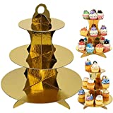wxqym Cartón de Oro Cupcake Stand 3- Postre Tier Soporte Redondo Molde de Papel Torre for los cumpleaños, Fiesta, bebé Showers- Pack de 3 (Color : Gold3 Pack)
