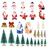 Ornement de Noël Miniature,30 Pcs Figurines de Style de Noël Père Noël Arbre de Noël Dessin Animé Mignon Micro Paysage pour la Décoration,DIY Mini Fée Jardin Artisanat Miniature