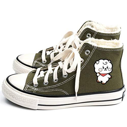 HJJ® Zapatos bts Zapatos de Kpop BTS de lona, los colores del caramelo del Alto-top zapatos casuales, estrella Personaje de dibujos animados de impresión zapatos de los pares, felpa forrado Anti Sli